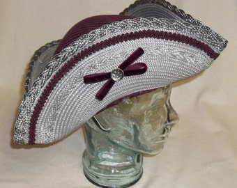 Gray and Burgundy Pirate Hat - Straw and Brocade Tricorn
