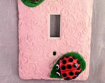 Baby Pastel Pink Ladybug Single Switch Plate