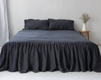 Gathered Ruffled Stonewashed Linen Coverlet - CHARCOAL BED SKIRT.