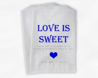 Love Is Sweet Candy Buffet Treat Bags - Personalized Wedding Favor Bags in Blue and Gray - Custom Paper Bags (0167)