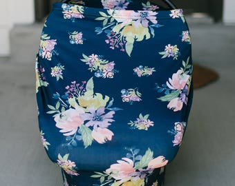3-in-1 Stretchy Baby Nursing Cover, Car Seat Canopy, and Shopping Cart Cover (NAVY FLORAL)