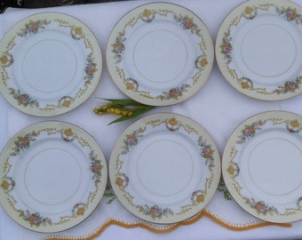 Noritake Imperial China Gold and Floral Side Plate, Bread Plate, Salad Plate, Appetizer Plate, Vintage Noritake Dinnerware - Set of 6 Plates
