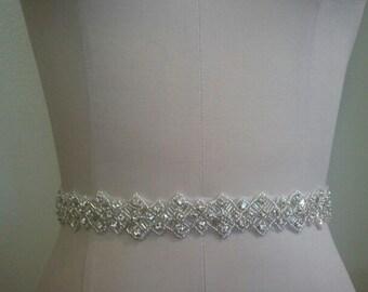 SALE - Wedding Belt, Bridal Belt, Sash Belt, Crystal Rhinestone Sash - Style B70014