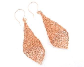 Copper Earrings, Wire Crochet Earrings, Copper Jewelry, Dangle Earrings, Fairy Bell Earrings, Wire Crochet Jewelry, By Durango Rose