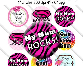 Instant Download - Mothering Day Mum Sayings Bottle Cap Colorful Digital Art Collage Set 1 Inch Circle Stickers 4x6