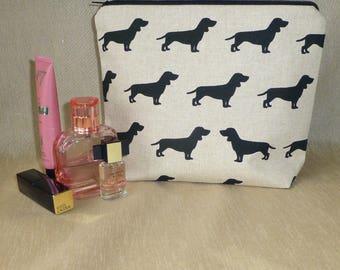 Sausage Dog Makeup Bag, Dachshund MakeUp Bag, Dax Make Up Bag, Wiener Dog Cosmetics Bag, Dachshund Cosmetics Bag, Dax Lovers, Dog Lovers