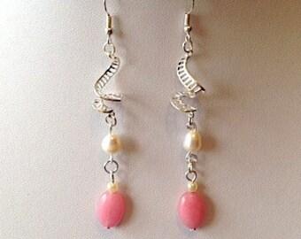 Fresh Water Pearl Pink Morganite Drop Dangle Hook Gemstone Earrings