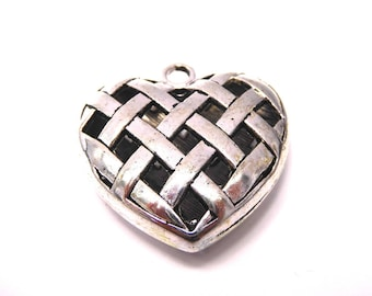 Heart charm, ornate, silver, sold by 5