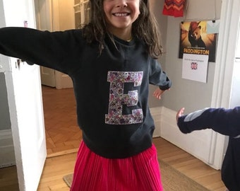 Kids organic crew neck sweatshirt with Liberty fabric or printed personalised initial or number