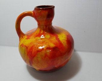 Vintage Orange Drip Glaze Ceramic Jug 1960s