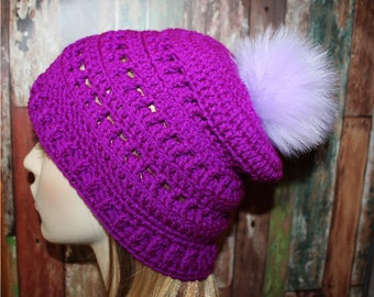 Orchid Slouch Beanie, Lilac Pom Pom, Slouchy Beanie, Purple Slouchy, One of a Kind Slouchy Beanie READY TO SHIP
