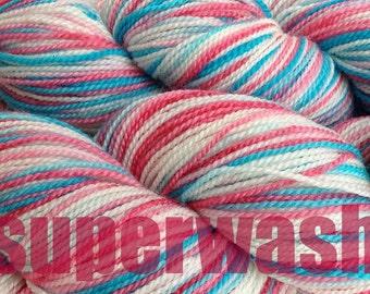 Fingering Weight Handpainted Sock Yarn in Circus Tent Superwash Red White Aqua