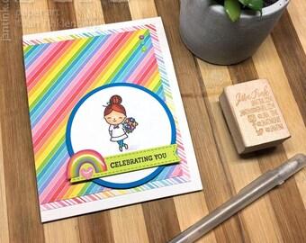 Celebrating You Gay Pride Cute Fancy Greeting Card Handmade Rainbow for Son Daughter Niece Nephew Friend Coworker