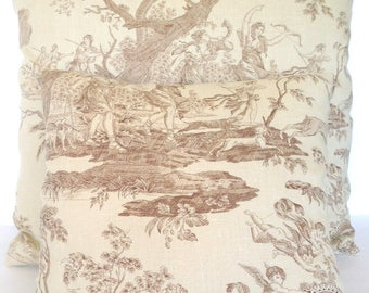 Square Decorative Throw Pillow Cover Linen Toile Brown Tan Cream Autumn French Country Scene English Cottage Shabby Chic Garden Tree