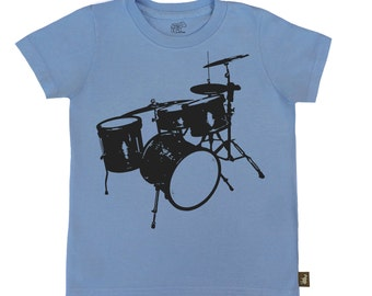 Organic S/S Mid Blue Drum Set Tee Shirt - 6 months to 12 years