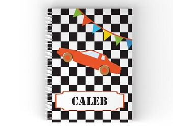Race Car Personalized Notebook - Race Car White Black Checker with Name, Customized Spiral Notebook Back to School
