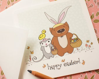 Easter card, Egg hunt with Poss and Wom