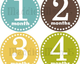 Monthly Baby Stickers Baby Boy Month Stickers Milestone Stickers Monthly Photo Stickers Bodysuit Stickers (Scott)