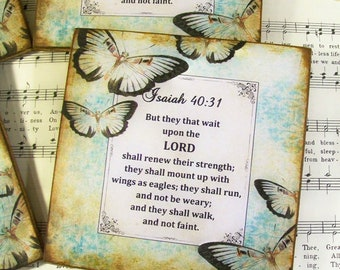 Isaiah 40:31 Decoupage Coasters, Wood Christian Coasters, But They that Wait upon the Lord, Home Decor Coasters, Drink Coasters, Set of 4