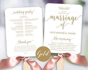 Gold Wedding Fans, Printable Wedding Fan Program Template, Fan Wedding Program, Editable text, Modern Calligraphy, VW36