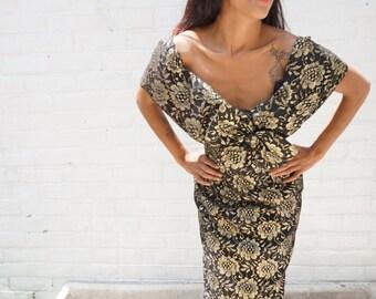 Party Dress 1980s Vintage Black Gold Off Shoulder