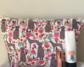 Weimaraner dog makeup/toilet bag