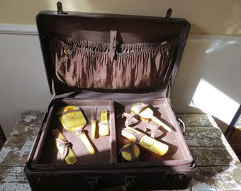 Leather Stackable Suitcase Cowhide Suitcase Travel Valet with Celluloid Vanity Set Movie Prop