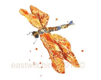Dragonflies, nursery animal art, mothers day, Golden DRAGONFLY Print, dragonfly art