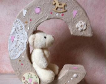 "Customize letter ""C"" cardboard paper mache girl"