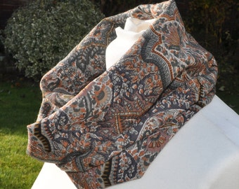 Cowl/snood infinity scarf in Liberty Varuna Wool, dusky pinks, greys, paisley