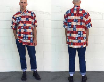 Vintage 90s High Seas Original Freedom Patriotic Hawaiian Button Down Short Sleeved Shirt (size xl)