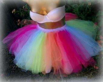 Adult tutu, color run, marathon running tutu, Adult tulle skirt, EDC, raver rave outfit, gogo dancer, sweet 16 tutu, multi color tutu