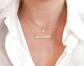 14K Gold Bar Necklace, Personalized Necklace, 14K Gold Name Plate Necklace, 14K Personalized Necklace, ID Plate Necklace, Custom Necklace
