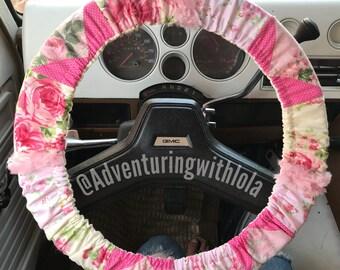 Shabby - Boho Pink Steering Wheel Cover