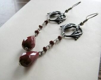 Baroque earrings | sterling silver | filigree heart | red beaded | dangle
