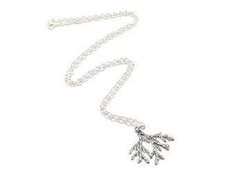 Sterling Silver Cedar Charm Necklace - Cedar Jewelry - Organic Natural Woodland Necklace - Multiple Chain Lengths Available