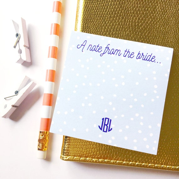 A note from the bride, Personalized Sticky Notes, Personalized Post It Notes, wedding stationery, engagement gift, bride to be