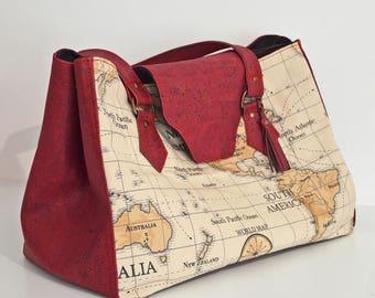 Handbag KARLIE Cork Bordeaux fabric and cotton printed