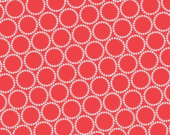 Mini Pearl Bracelets in Tomato by Lizzy House for Andover Fabrics, by the fat quarter or half yard