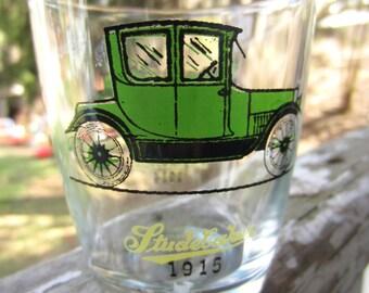 Vintage Green Studebaker Maxwell Hazel Atlas Glasses Barware Antique Automobile Old Fashioned Car