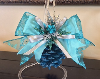 Marine Blue Pinecone Ornament, Christmas ornaments, pinecone ornaments, handmade ornaments, blue ornaments, holiday decor, pinecone crafts