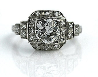 "Vintage Engagement Ring Vintage 1930's Old European Cut Diamond Engagement Wedding Anniversary Ring Platinum ""The Abby"""