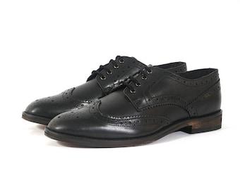 Aspele Mens Black Leather Brogues shoes