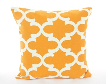 Orange White Pillows Decorative Throw Pillow Cushion COVER Moroccan Quatrefoil ALL SIZES Couch Pillows Nursery Childrens Cushion Sofa Accent