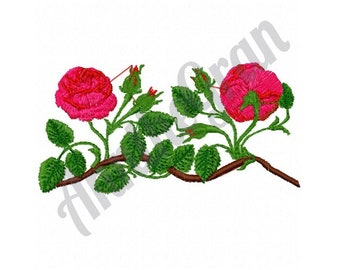Rose Branch - Machine Embroidery Design