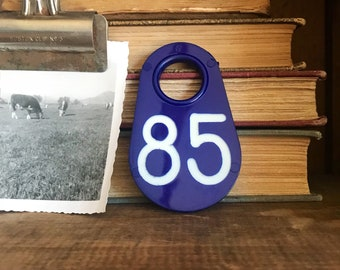 Vintage Cow Tags Blue And White / Cattle Tag / Livestock Tag / Plastic Cow Tag / Vintage Cow Tag / Ear Tag / Farmhouse Decor