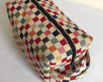 Cosmetic Bag, Makeup Bag, Box Makeup Bag, Box Cosmetic Bag, Small Square Tapestry Cosmetic Bag, Tapestry Makeup Bag