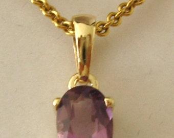 Genuine SOLID 9K 9ct YELLOW GOLD February Birthstone Amethyst Pendant