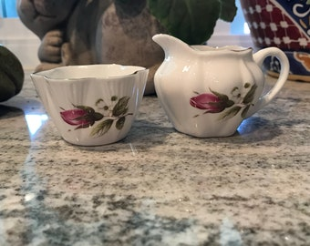 Creamer Pour and Sugar Cube Bowl Heirloom Fine Bone China Made In England Rose Bud Design Mini Dainty Shape Serving Dishes, Item #593390480
