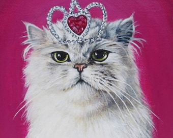 White Kitty in a Crown
